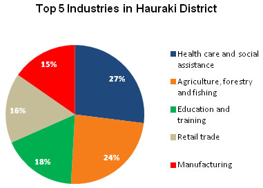 Top 5 industries in the Hauraki District