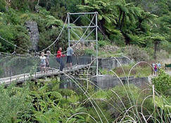 Swing bridge over Waitawheta River at Karangahake